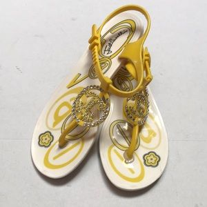 Just cavali beachwear yellow embellished sandals
